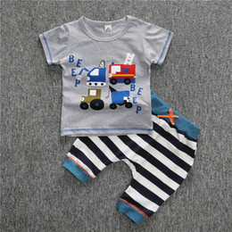 Barato Calças Dos Meninos Dos Carros-Infant Toddler Baby Kids Kids Outfits Babies Boy Cartoon carro manga curta Tops T-shirt + roupa de listrada Outfit Set Clothes