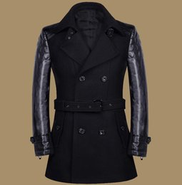 Mens Leather Pea Coat Online   Mens Leather Pea Coat for Sale