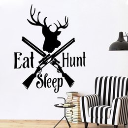 Hunting Decals Stickers NZ - Hot Sale Eat Sleep Hunt Deer Bow Wall Window Sticker Art Decal Vinyl Stickers Duck Hobby DIY