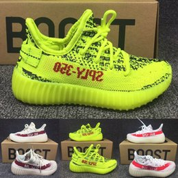 Barato Garotas De Garotas Esportivas-Mais novo Kanye West SPLY 350 Boost V2 Zebra Kids Running Shoes Crianças Athletic Shoes Beluga 2.0 Baby Boy Girl Sport Sneaker