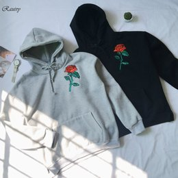 666227fa55d Wholesale- 2017 hoodies women ulzzang autumn winter new korean clothes cute  hoodie pocket kawaii embroidery roses harajuku sweatshirt women