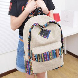 $enCountryForm.capitalKeyWord Canada - Canvas Zipper Bag Girl Casual Floral Print Color Block Women Canvas Backpack for Travel School Laptop