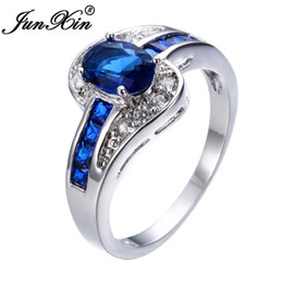 $enCountryForm.capitalKeyWord NZ - JUNXIN Unique Jewelry Blue Oval Zircon Stone Ring White Gold Filled Wedding Engagement Rings For Women Men RW0375