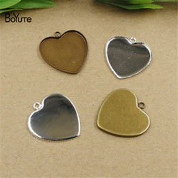 $enCountryForm.capitalKeyWord Canada - BoYuTe Hot 100Pcs 25MM Cabochon Base Setting Heart Pendant Blank Bezel Tray Vintage Diy Jewelry Accessories