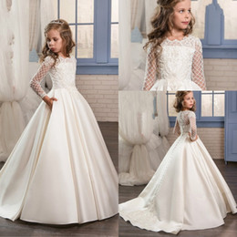 Wholesale 2019 Princess Lace Sheer Long Sleeves Flower Girl Dresses Cew Neckline Floor Length First Communion Birthday Girls Pageant Gowns
