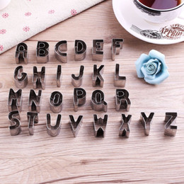 Sugar Cookies Cutter Australia - 26 pcs Stainless Steel English Alphabet Decoration Cookies Mould Cutter Fondant Cake Chocolate Sugar DIY Baking Tool New Arrival