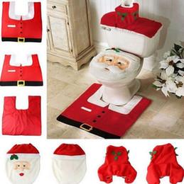 Wholesale Retail 3pc 1 Set Christmas Santa Claus Seat Cover + Rug + Tank  Cover, Bathroom Accessories,Christmas Decor