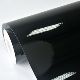 Chinese  Wholesale- 2ft x 5ft Gloss Black Vinyl Vehicle Car Wrap Sticker Decal Roll with Bubble Air Release manufacturers