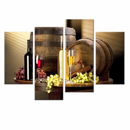 framed wine wall art UK - 4 Pieces Wine And Fruit With Glass And Barrel Wall Art Painting Pictures Print On Canvas Food For Home Decor With Wooden Framed