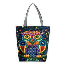 Women Cartoon Canada - Women Canvas Beach Bag Cartoon Animal Owl Printed Casual Tote Daily Use Single Shoulder Shopping Bags Female Canvas Handbag