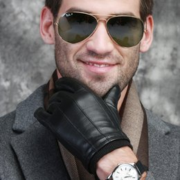 Men Gloves Leather Sheepskin Canada - Wholesale- 2015 High Quality Men Touch screen Christmas gift Fashion Winter Spring Imported Italian Leather Sheepskin Mittens Gloves
