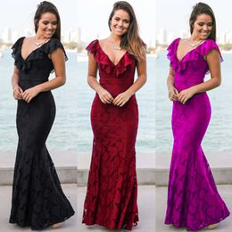 Barato Elegante V Vestidos De Casamento Pescoço-Novo chegou Top quality Women's Elegant Lace Sexy fishtail saia Evening Cocktail Dress Vestido de noiva V-Neck Lace S-2XL