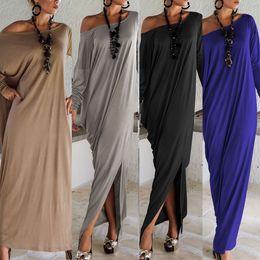 Women Clothing Plus Canada - 2017 Spring Summer Women Clothes Fashion Dress Long Sleeve Maxi Dress Irregular Plus Size Oversize Loose Dresses