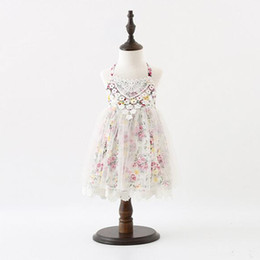 Summer Floral Halter Girls Dress Boho Lace Trim Soft Tulle Floral Baby Girls abiti in pizzo senza maniche Baby Girls Party Dress