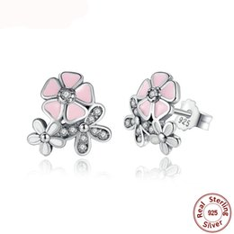 0e68c6c916b3 925 Sterling Silver Poetic Daisy Cherry Blossom Drop Earrings Mixed   Clear  CZ Pink Flower Women Engagement PAS461