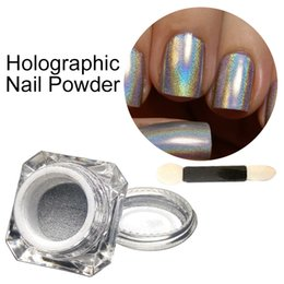 Chrome Powder Canada - Wholesale- 1g Holo Unicorn Powder Rainbow Pigment Shimmer Chrome Silver Dust Glitter Rainbow Neon Holographic Powder for Gel Polish