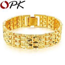 49038c578 OPK Gold Color Bracelet Bangle For Men Women Luxury Wedding Bridal jewelry  20cm*15mm Chunky Link Chain Bracelet, KS509