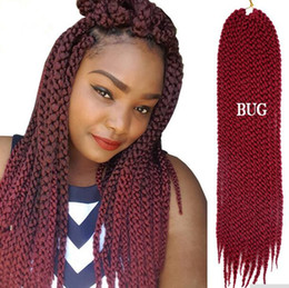 3d Hair Canada - Free Shipping HIGH QUALITY 3D Cubic Twist Crochet Braids Burgandy Color Mambo Senegalese Twist synthetic hair Hair Extensions