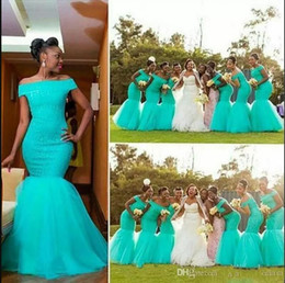 NigeriaN lace short dresses online shopping - Hot South Africa Style Nigerian Bridesmaid Dresses Plus Size Mermaid Maid Of Honor Gowns For Wedding Off Shoulder Turquoise Tulle Dress