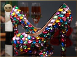 Chinese  Love Moments Handmade Crystal Glitter Multicolor Wedding Shoes Bride Ladies Platform High Heel Evening Shoes woman Dress Shoes manufacturers