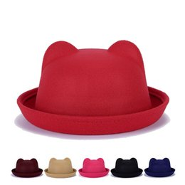 Barato Bonés Bonitos E Exclusivos-New Arrival Women Top Hats Winter Autumn Unique Bonitinho de lã feltro Cat Ears Hat Cap Christmas Fodoras Bucket Caps For Girls Hats