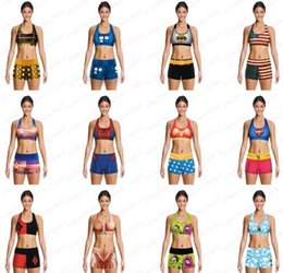Barato Menina Bra Impresso-2016 Popular Girls Sports Bras + Shorts de corrida Batman Superman Spider-Man Zombie Muscles Wonder women 3D Printing Sports Set