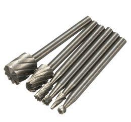6pcs HSS Routing madeira Rotary fresa de alta velocidade de aço Tool Set para processamento de superfícies metálicas e não metálicas Construção Ferramenta
