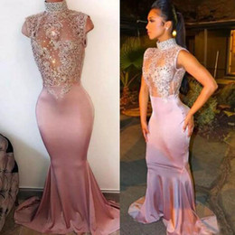 Barato Rendas Applique Corpete Baile Vestidos-2017 Sexy High Neck Prom Dresses Mermaid Beaded Lace Appliques Ilusão Corpete Blush Pink Fitted Evening Party Gowns Custom Sweep Train