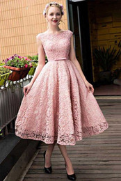 $enCountryForm.capitalKeyWord Canada - Sweet 16 Gowns Pink Tea Length Lace Beading Party Dresses Scoop Neck Lace Up Homecoming Dresses
