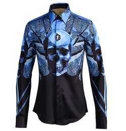 men long sleeve skull shirts Canada - New Men casual shirt long sleeve Gradient color printed Snake Skull Ironing-free European and American style Classic Slim Fit Men Shirt