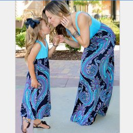 mother daughter clothes matching 2019 - Summer Mother daughter matching dresses Mommy Girls Maxi Family Cashew Pteris clothing Chiffon shoulder Sleeveless Dress