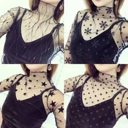 China 2017 New Lace See-through Crop Shirt Top Women Summer Perspective Long Sleeve T-shirt Fashion Sexy Tops Mix Models Snowflake Heart Tree suppliers