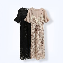 Damas Coreanas Vestidos Casual Baratos-Venta caliente más el tamaño coreano Ladies Flare Sleeve Lace Dress Camisole Tow Piece Vestidos de traje 2017 Verano 5XL de gran tamaño Solid T-shirt interior
