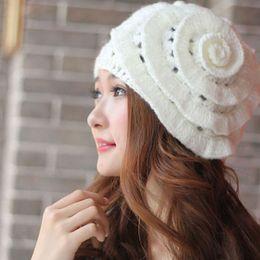$enCountryForm.capitalKeyWord NZ - New Elegant Winter Warm Women Beret Braided Knit Crochet Baggy Beanie Flower Hat Free Shipping DM#6