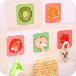 Discount cute fruit holders - Wholesale- 1 pcs cute fruit strong stick hanger hook bathroom towel hook key umbrella wall kitchen sundries organizer st