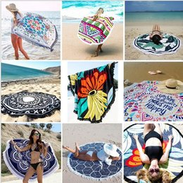 Discount check pad - Tassel large round beach towel bohemian style artificial silk fabric new summer fashion ladies tassel beach towel beach