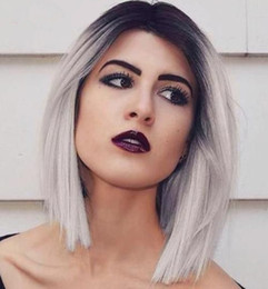 wig grey Australia - Glueless Full Lace Human Hair Ombre Wigs Peruvian Human Full Lace Wig With Bleached Knots Two Tone 1B Grey Front Lace Wigs