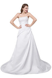 China New Sexy White Ivory Cheap A-Line Wedding Dresses 2018 Satin With Sequin Beaded Crystals Bridal Gowns Stock 2-16 cheap court chapel wedding dresses suppliers