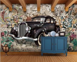 vintage car prints NZ - Custom Photo Wallpaper Mural Retro Vintage Car Walking Wall 3D Stereo Restaurant Bar Mural Background Wall