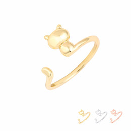 $enCountryForm.capitalKeyWord NZ - Wholesale Fashion Rings Adjustable 3D Cat Ring Silver Gold Rose Gold Plated Brass Jewelry for Women Girl Can Mix Color EFR071 Factory Price