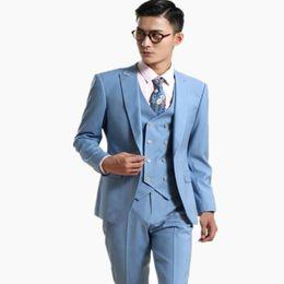 af250f45403 Latest style men suits light blue one button wedding suits tuxedos high  quality groom best man dress suits(jacket+vest+pants)