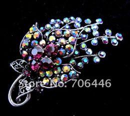 $enCountryForm.capitalKeyWord Canada - 2 Inch Antique Silver Plated Purple AB Rhinestone Crystal Leaf and Flower Design Vintage Brooch Pins