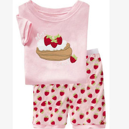 $enCountryForm.capitalKeyWord Canada - Pink Strawberry Cake Baby Girls Clothes Suit Summer T-Shirts Shorts Pants 100% Cotton Toddler Pajamas Home Clothing Hot Sale 60pcs lot