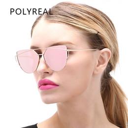 Optical Sunglasses Designer Canada - Wholesale-POLYREAL New Fashion Women Cat Eye Sunglasses Brand Designer Female Alloy Mirror Sun Glasses For Ladies Cateye Optical Frames