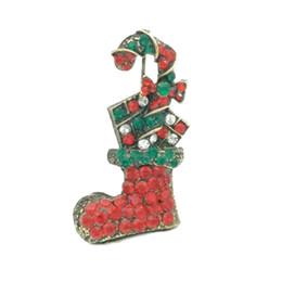 $enCountryForm.capitalKeyWord NZ - Lot 10 Pcs Xmas Gifts Retro Bronze Rhinestone Crutch Boot Shoes Brooch Pin Christmas Brooches Jewelry Accessory