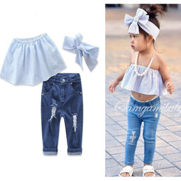 Clothing Baby Jeans Set Girls Canada - Girls Children Jeans Pants Clothes Outfits With Headband Kids Baby Princess Plaid Strapless Vest Jeans Trousers Clothing Sets Suits Outfits