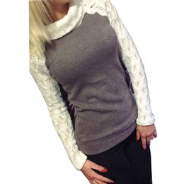 Barato Laço De Gola Alta-Atacado-2016 Outono Inverno Mulheres Moda Pullover Turtleneck Patchwork Lace Long Sleeve Sweater Jumper Knitted Tops Pull Femme