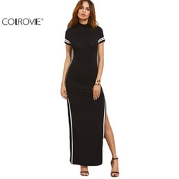 08175ab252 Wholesale- COLROVIE Women Sexy Wear Autumn Style Bodycon Dresses Black Cut  Out Striped Trim Short Sleeve High Neck Split Sheath Maxi Dress