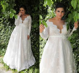 Vestido de novia de una línea de cintura del imperio de la cintura más tamaño vestido con mangas largas Vestido de novia de la longitud de la boda más grande atractivo NADPW006 en venta