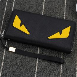 Venta al por mayor de Al por mayor-2016 Nueva marca de la cremallera de la cartera de los hombres de largo bolso de embrague del teléfono de moda de alta calidad de garantía ojos monedero cartera del embrague envío gratis